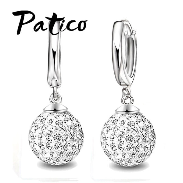 PATICO Fast Free Ship 925 Sterling Silver Austrian Pave Disco Ball Hoop Lever back Earring Woman Jewelry Multi Colors