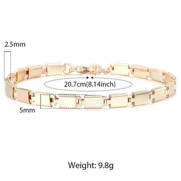 Davieslee Bracelets for Women 585 Rose Gold Filled Chains Mens Womens Bracelat Foxtail Hammered Bismark Chain 3-8mm 20cm DCBB1