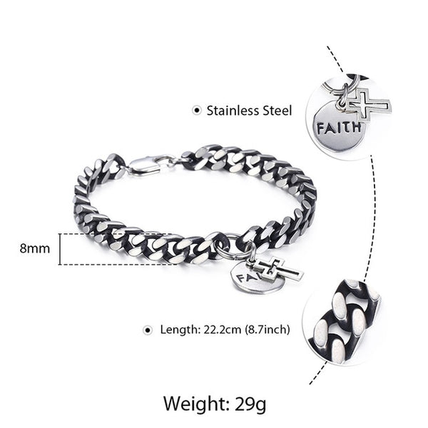 Davieslee Cross Round Faith Charm Bracelet For Men Curb Cuban Chain Stainless Steel Gunmetal 8mm Mens Fashion Jewelry Gift LDB23