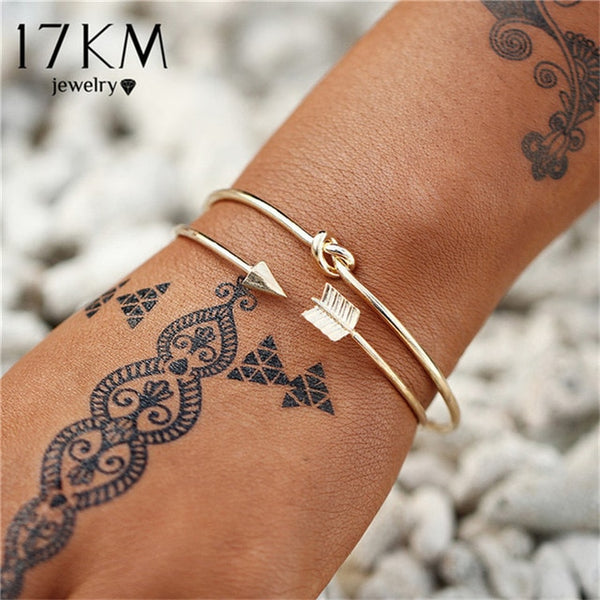 Vintage Gold Color Bracelets & Bangles 2019 For Women Bohemia Heart Moon Star Adjustable Bracelet Set Female Fashion Jewelry