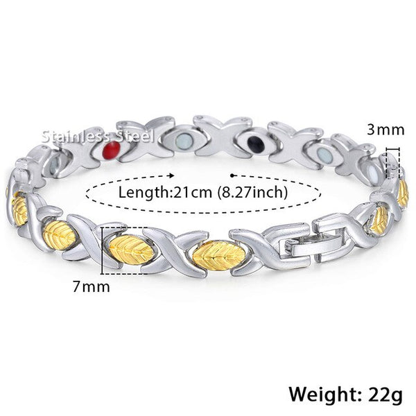 Davieslee Womens Magnetic Bracelets Gold Black Energy Stainless Steel Chain Health Bracelet for Women Men 7mm 7.87inch LKBM156