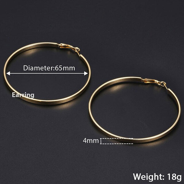 3pairs 4mm Flat Hoop Earrings for Women Silver Gold Filled Polished Round Circle Hoops Earrings Gift Diameter 20/40/60mm LGEM24
