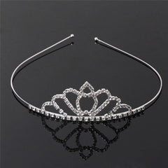 Delicate Wedding Party Princess Crown Rhinestone Hair Accessories For Girls Children Tiara Crown Hair Jewelry Silver Color