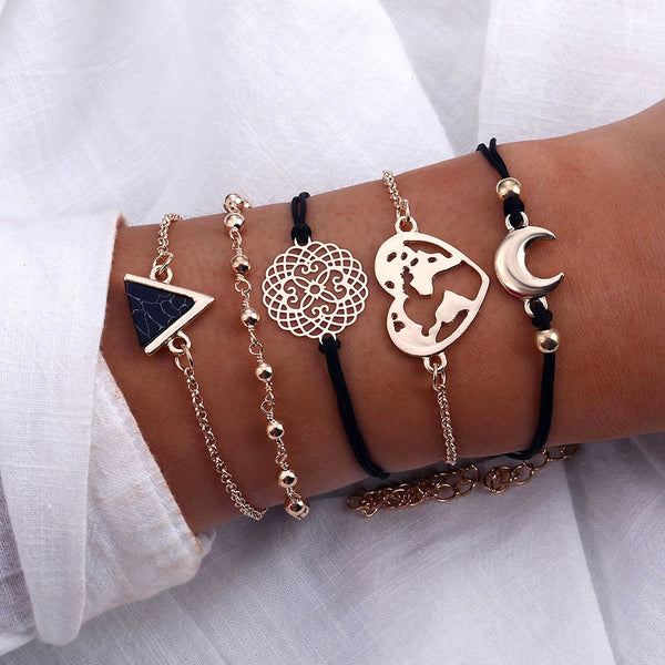 2019 Vintage Triangle Stone Beads Bracelets For Women Statement Heart Moon Charm Bracelet & Bangle Fashion Jewelry Drop Shipping