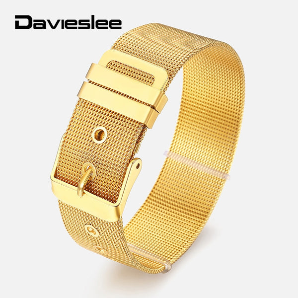 Belt Buckle Mesh Bracelets for Men Silver Gold Stainless Steel Slide Charm Mens Bracelet Wristband Adjustable 8/10/18mm LKBM164
