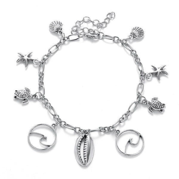 FAMSHIN Starfish Shell Wave Pendant Anklet For Women New Design Turtles Vintage Anklet Charm Beach Chain Foot Jewelry 2019 NEW
