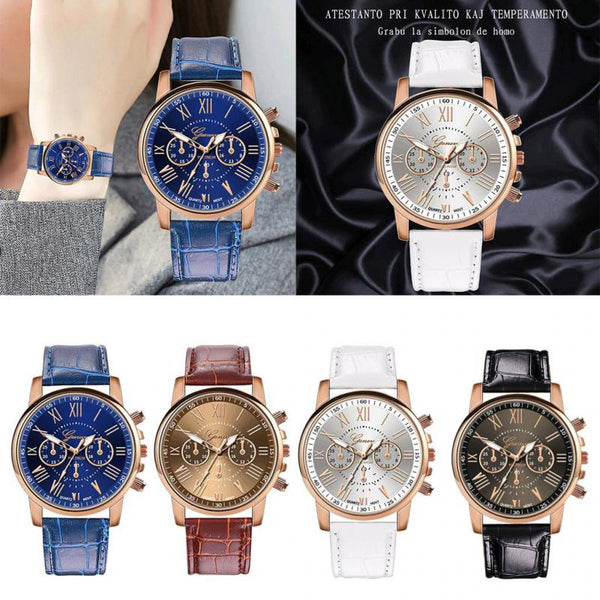 2019 New Fashion Women men Leather Band Quartz Analog Wrist Watch luxury fashion black white gold women watches bracelet