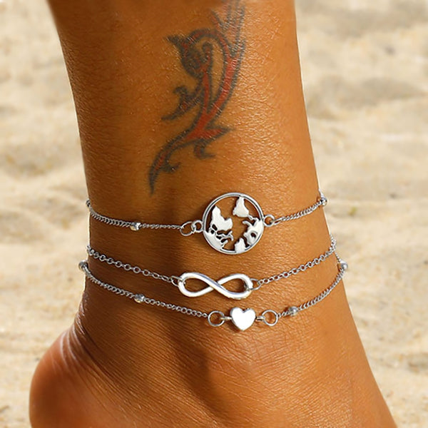 2019 Vintage Infinite Heart Map Anklets Set For Women Silver Color Multi Layer Anklet Bracelets On Leg Fashion Beach Jewelry New