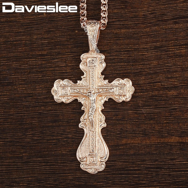 Davieslee Cross Pendant Necklace For Women Men CZ Crucifix 585 Rose Gold Pendant Mens Woman Jewelry Dropshipping Gifts DGP172