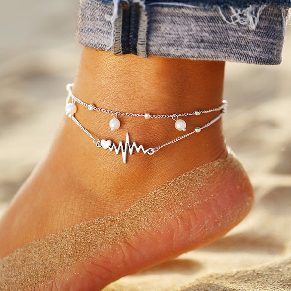 17KM Vintage Multiple Layers Anklets for Women Bohemian Retro Turtle Rope Anklet Sexy Beach Bracelet Chain Animal Foot Jewelry