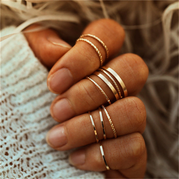 17KM Vintage Gold Color Knuckle Rings Set For Women Geometric Round Twist Weave Finger Ring Female Fashion Jewelry New Wholesale