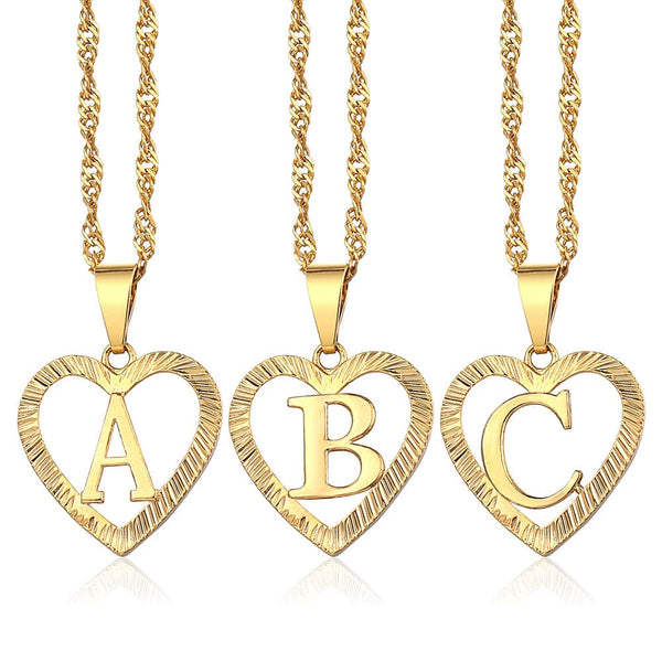 Initial Letter A Z Pendant Necklaces for Women Love Heart Shaped Yellow Gold Filled Swirl Chain Alphabet Necklace Jewelry LGPM25