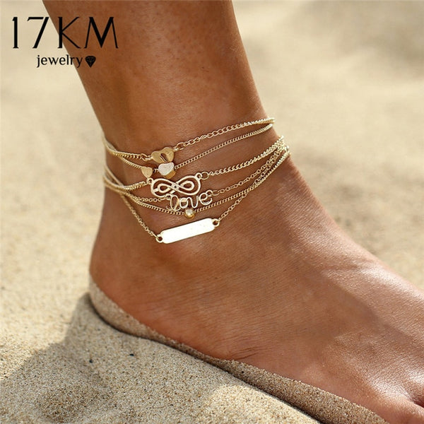 17KM Boho Heart Infinity Sequins Anklets Set For Women Bohemian Anklet Bracelets Set Fashion Beach Foot Party Statement Jewelry