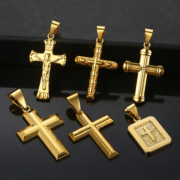 Davieslee Men's Womens Cross Pendant Crucifix Jesus Gold Christian Pendants Male Jewelry Woman Gifts For Men Dropshipping DGPP01