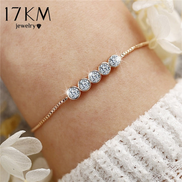 17KM Fashion Cubic Zirconia Charm Bracelets For Women New Statement Round Tennis Bracelet & Bangles Female Wedding Party Jewelry