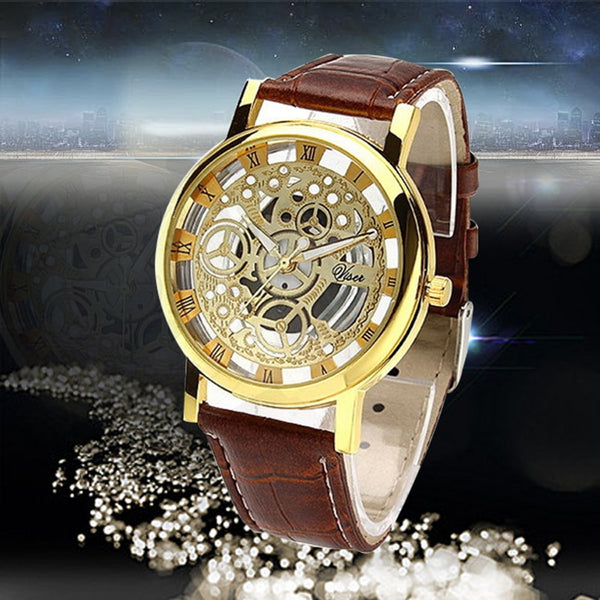 Classical Men Watch Hollow Gold Dial Leather Strap Brand Luxury Roman Numeral Quartz WristWatches Student Boy Clock reloj hombre