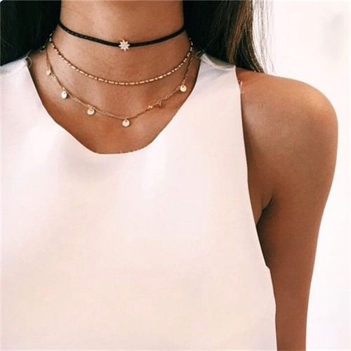 FAMSHIN Vintage Multilayer Crystal Pendant Necklace Women Gold Color Beads Moon Star Horn Crescent Choker Necklaces Jewelry New