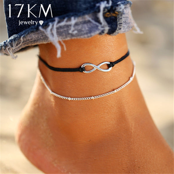 17KM Boho Infinite Beads Anklets For Women 2019 Fashion Sun Pendent Multi Layer Anklet Cotton Handmade Chain Foot Jewelry