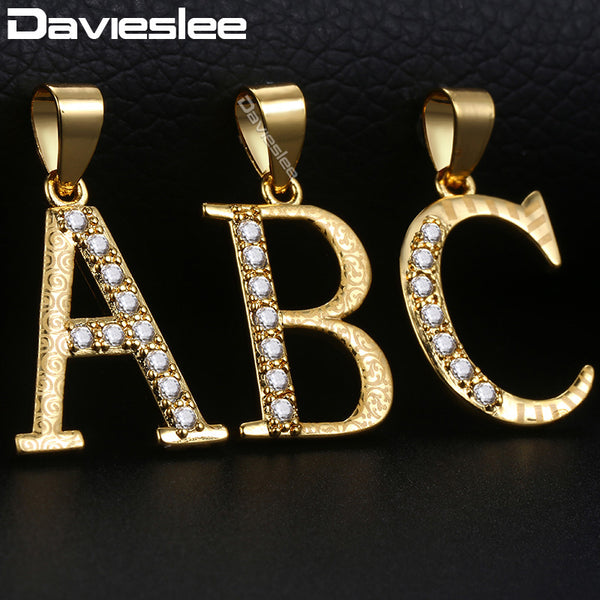 Initial Letter A Z Pendant Necklaces for Women Yellow Gold Filled Womens Necklace Paved Clear Rhinestones Fashion Jewelry LGPM20