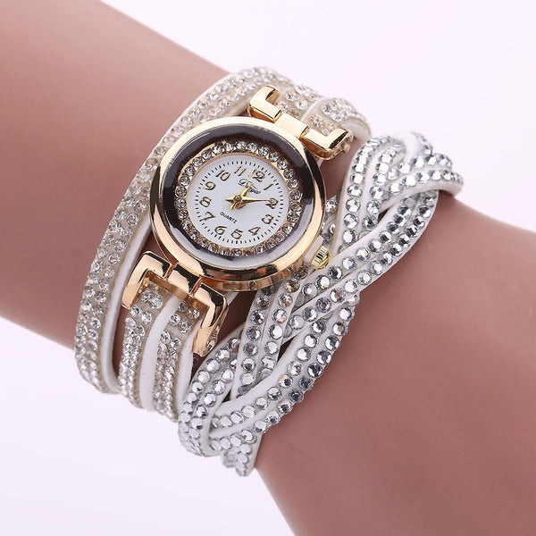 2019 Duoya NEW HOT Fashion Women Luxury Crystal Gold Bracelet Quartz Wristwatch Rhinestone Clock Ladies Dress Gift Watches N05