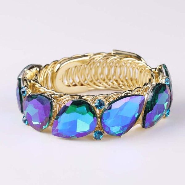 Fashion shiny blue Crystal Cuff Bracelets Bangle Big Stretch Bangle for Women wedding Bridal spring Bracelet Jewelry Gift