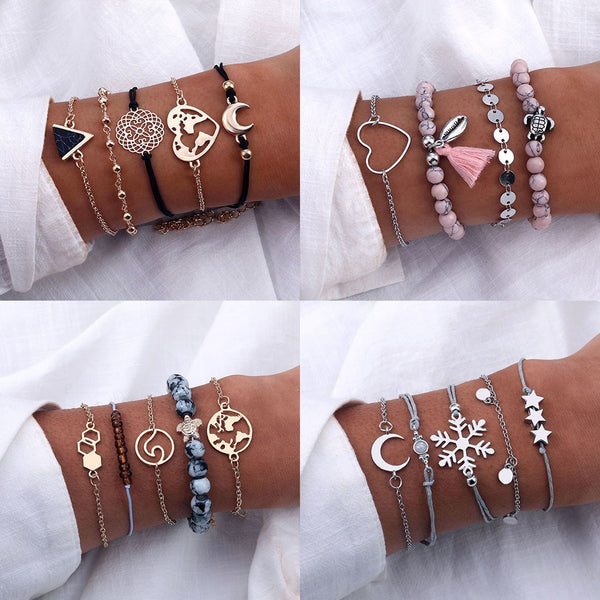 FAMSHIN 9 Styles Bohemia Heart Rope Chain Bracelets Set Letters Love Pineapple Shell Bracelet & Bangle Jewelry Gift for Friends