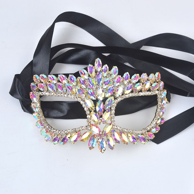 Crystal marquise type Jewelry mask for Hallowmas Alloy metal rhinestone silver surprise festival for Masquerade Mask Jewelry