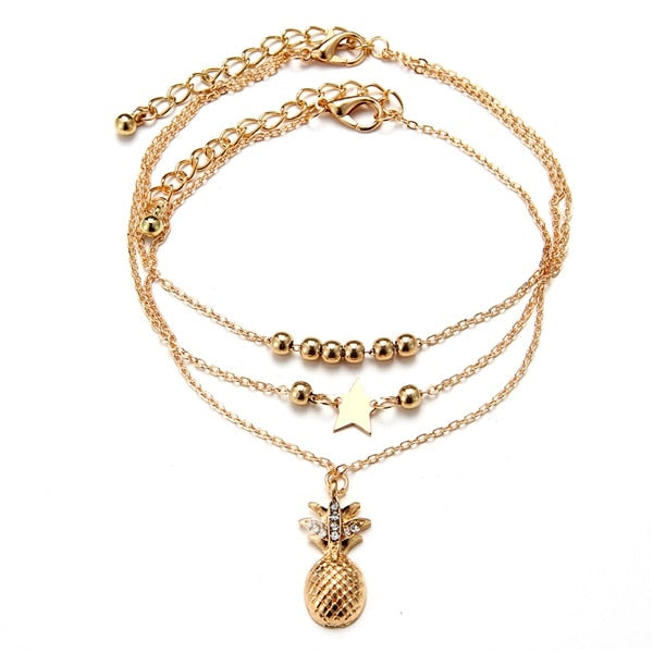 2019 Vintage Gold Silver Color Multilayer Anklets For Women Bohemian Moon Map Beads Leaves Anklet Bracelet 2019 DIY Boho Jewelry