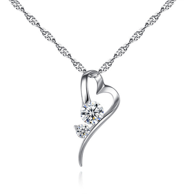 Sliver  Color Cubic Zirconia Heart Necklace for Women Wedding Jewelry Romantic Love Pendant Link Chain for Lover N415