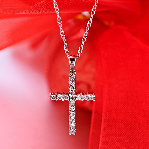 Fashion Personality Cross Crystal Pendant Necklace Snake Bone Chain Full Rhinestone Jewelry