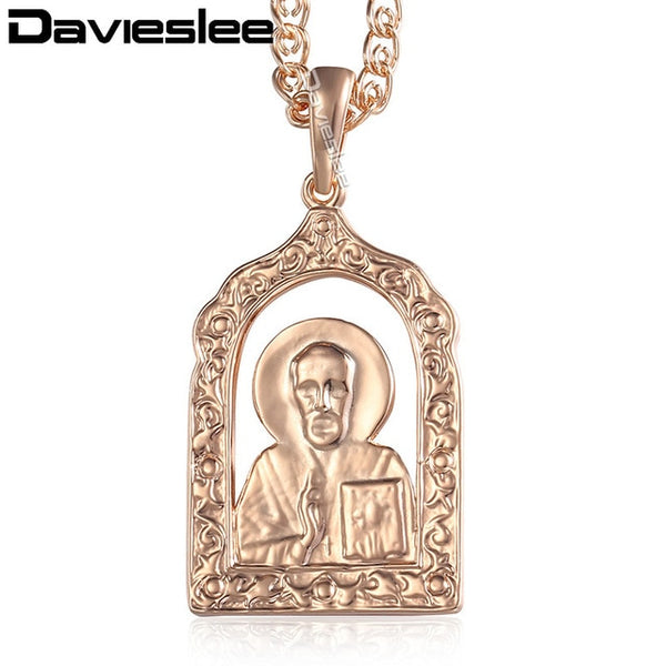 Davieslee pendant neckalce for women 585 Rose gold Fashion women cross chain necklace 2019