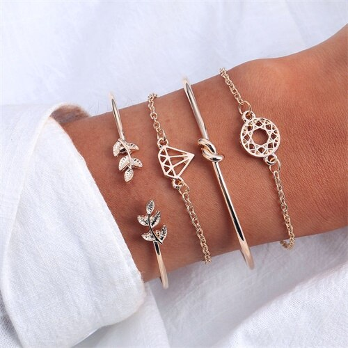 15 Design Bohemian Geometric Stone Bracelet Set for Women Vintage Rope Taseel Sequin Moon Map Elephant Heart Leaf Female Jewelry