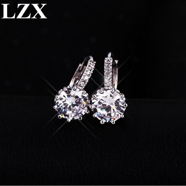 LZX Brand Classic Round Crystal Hoop Earrings For Women White Gold Color Zirconia Fashion Wedding Party Jewelry arete bijoux