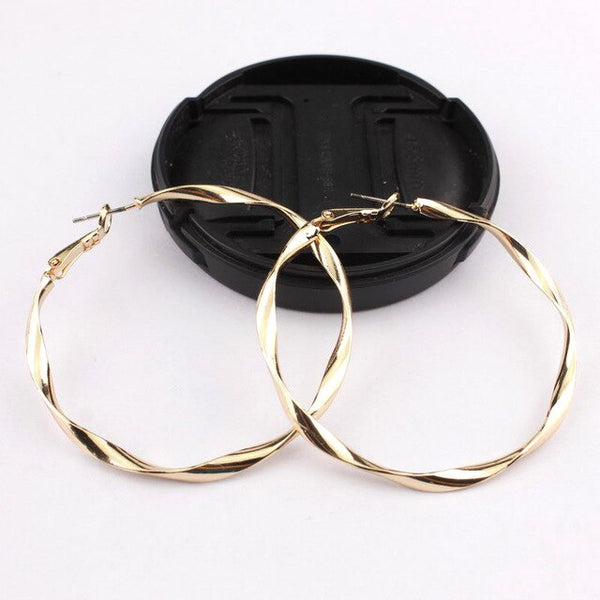 50mm Twisted Brass Rope Hoop Earrings for Women Metallic Minimalism Hoop Bearings