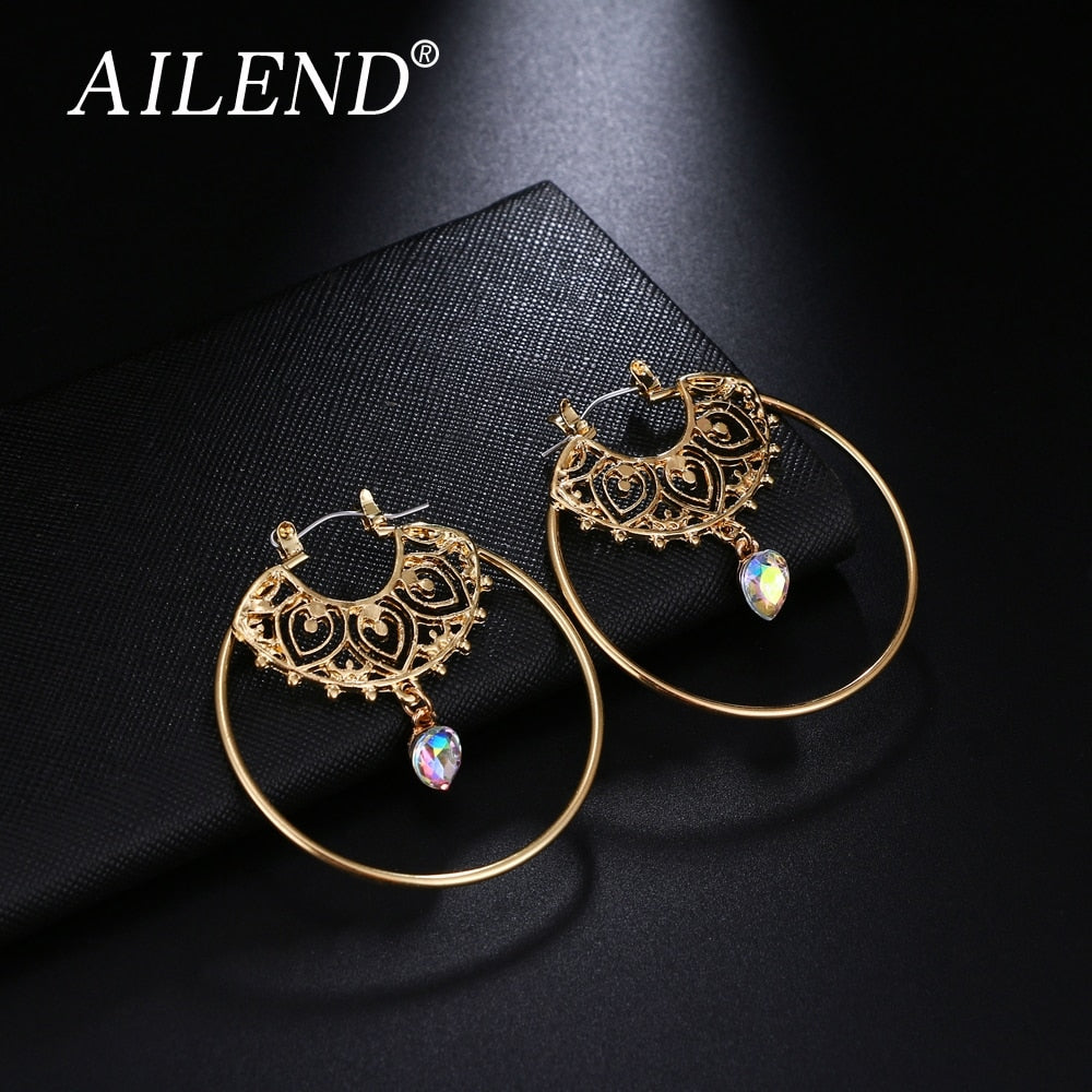 Gold Color Big Circle Round Hoop Earrings For Woman Boho Water Geometric Earring Party Jewelry Bohemian Accessories 2018 new