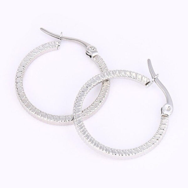 Korean Style Big Hoop Earrings for Women Stainless Steel Gold Silver Statement Hoop Earrings Female Classic Big Round Earrings