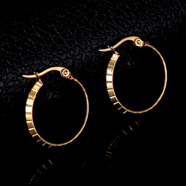 Stainless Steel Gold Silver Color Korea Style Hoop Earrings for Women Simple Plain Design Statement Earrings Gifts Wholesale