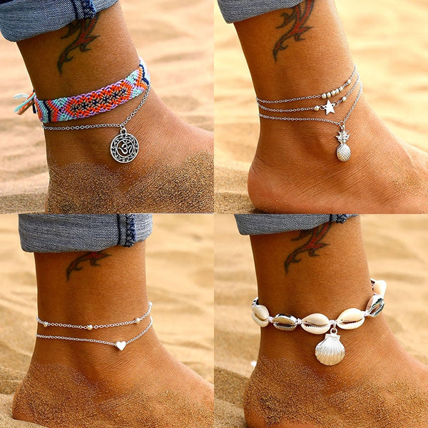 9 Design Vintage Silver Color Multilayer Anklets For Women Bohemian Shell Pineapple Leaves Anklet Bracelet 2019 Beach Jewelry