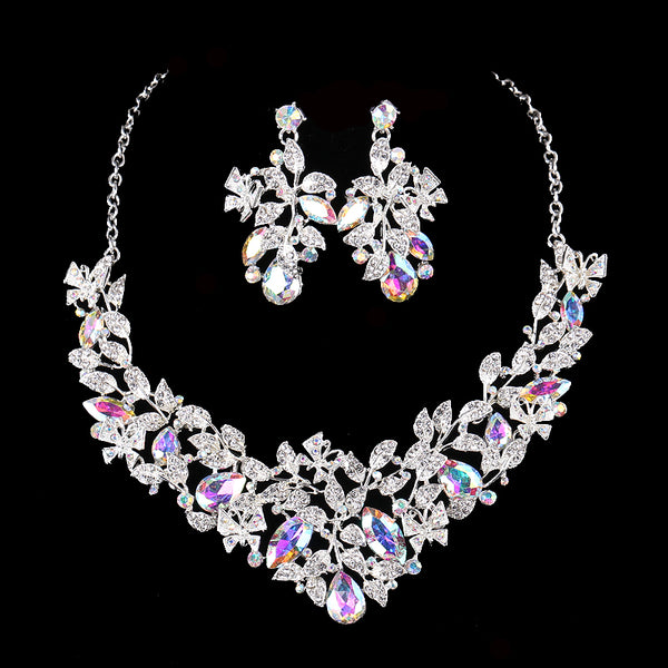 New Rhinestone Crystal Wedding butterfly design jewely sets  Ab shiny Necklace Earring Jewelry Set For Wedding Bridal Accessory