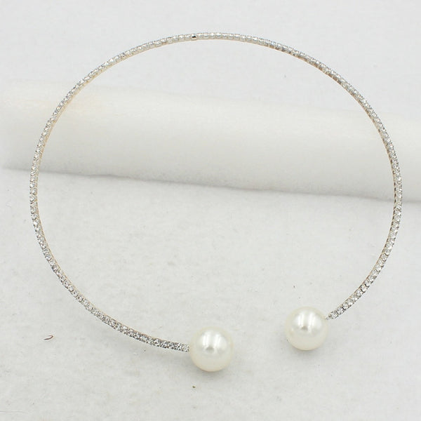 simulated pearls full rhinestone torques necklaces for women party jewelry gift alloy nickel free fj065