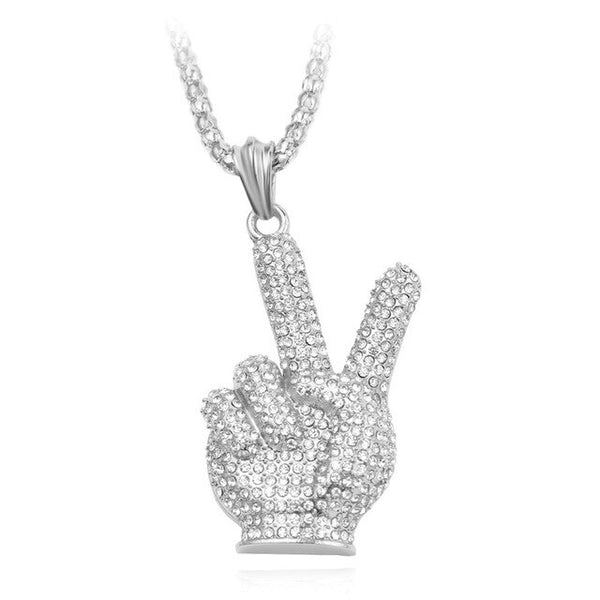 "Trendy Charm ""Victory"" gesture Crystal Hand Pendant Necklace Gold&Silver Full Ice Out Rhinestones Necklaces Women Men Gifts"
