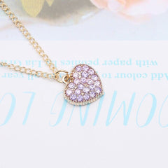 Alloy Love Rhinestone Necklace Full  Heart Shaped Cute Ornament Purple/Pink/Gold/Gray/Blue Rhinestone Necklace Gift