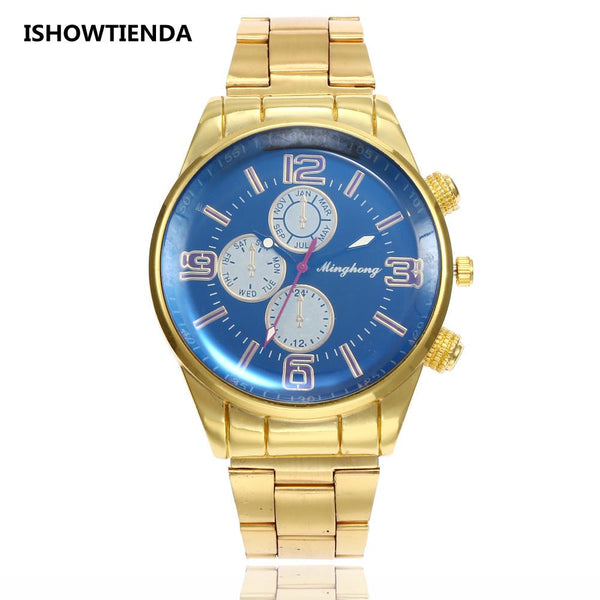 2019 Luxury Relojes mujer Mens Gold Watch Fashion Stainless Steel Quartz Watches Men Military Clock Man relogio masculino