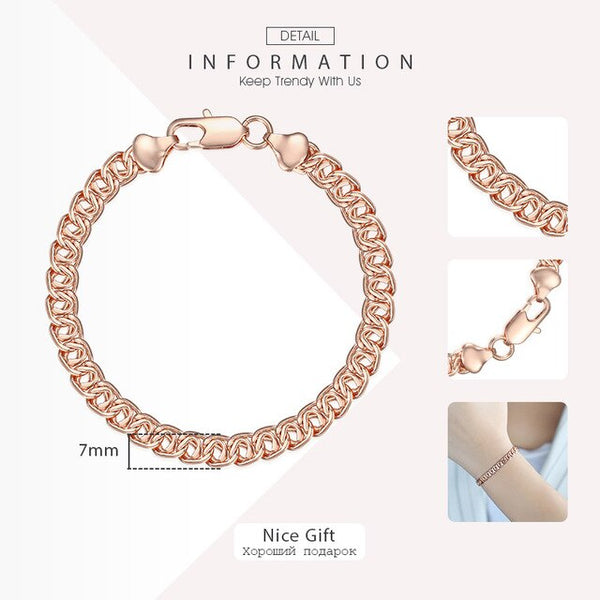 585 Rose Gold Bracelets for Women Helix Bismark Curb Chain Womens Bracelet Fashion Jewelry 7mm 18cm 20cm DLGBB1