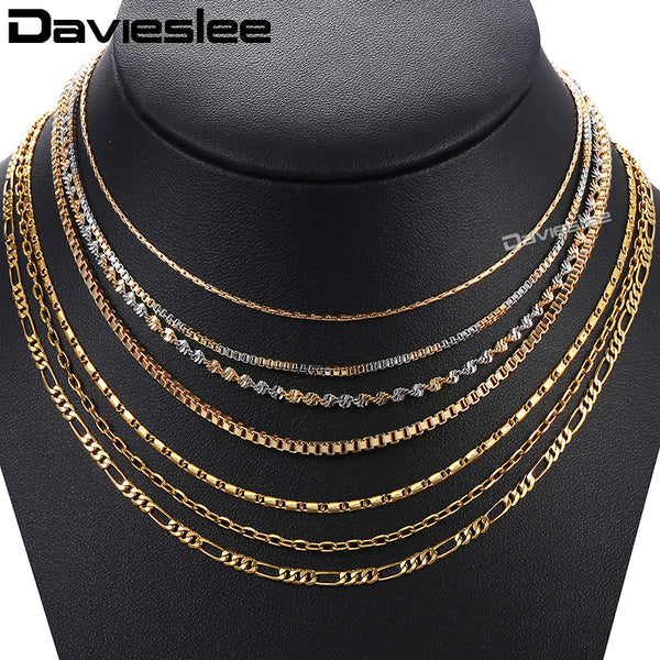 Davieslee Womens Necklace Gold Box Rolo Figaro Link Chain Necklace For Woman Jewelry 2018 Fashion Accessories Gifts 2018 LGNM127