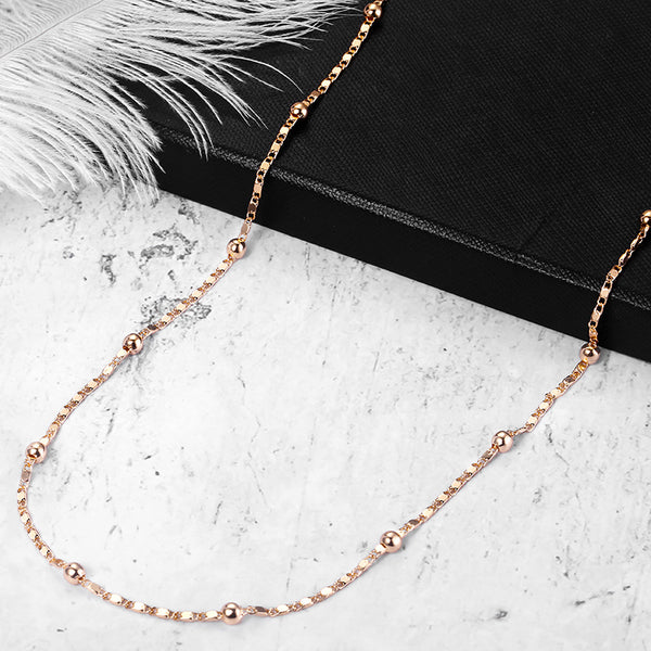 Marina Stick Beaded Chain Necklaces for Womens 585 Rose Gold Fashion Womens Necklaces Chain Wholesale Jewelry Gifts 2mm LCN18