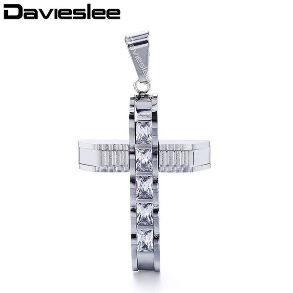 Davieslee Cross Pendant for Men Paved with Clear Rhinetones Carved Gold Silver Black Stainless Steel Mens Pendant 12 Style LKPP2