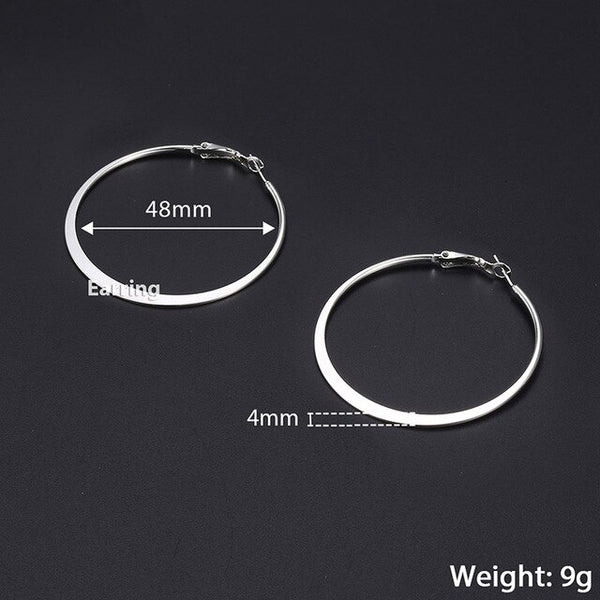 Davieslee Womens Hoop Earrings Silver Gold Flat Round Circle  Earrings For Women Fashion Jewelry 2018 Gifts Statement 4mm DGEM20