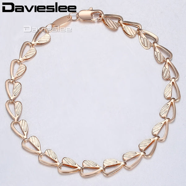Davieslee Bracelet For Women Heart Leaf Shape Chain Rose Gold Filled Bangle Hand Catenary Link 6mm 18.5cm 7.2inch LGB424