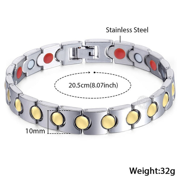 12-15mm Stainless Steel Mens Bracelets Magnetic Wristband Bracelets for Men Dropshipping Wholesale Male Jewelry LKB607A